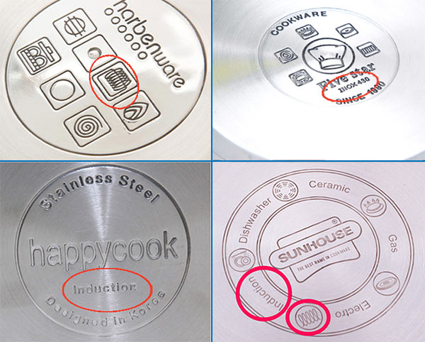 Bạn có thể chọn nồi nấu bếp từ thông qua các ký hiệu dưới đáy nồi